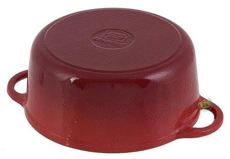 Brytfanna żeliwna KingHoff KH 2264 Emaliowana 4L Gęsiarka czerwona pokrywka 24 cm