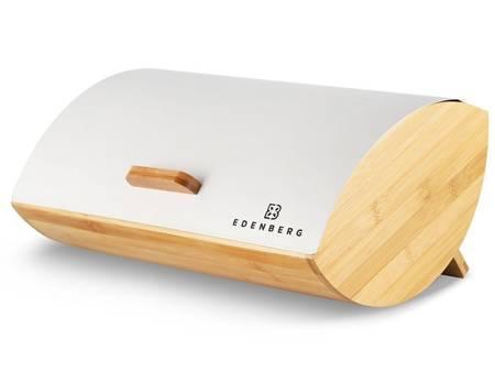 Chlebak drewniany Edenberg EB 140 pojemnik na pieczywo stalowa pokrywa w zestawie z pojemnikami
