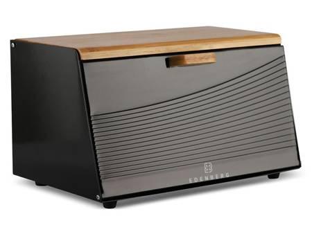 Chlebak metalowy Edenberg EB 128 pojemnik na pieczywo drewniana pokrywa w zestawie z pojemnikami