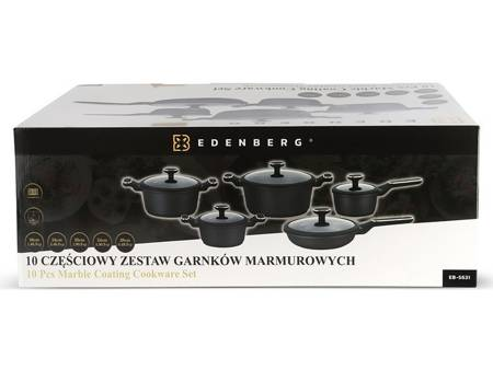 Garnki granitowe Edenberg EB 5631 Zestaw garnków indukcyjnych czarne+noże BH 2111