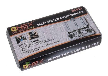 Gwintowniki i narzynki Onex OX 610 Zestaw 20 elementów Kalibrowniki