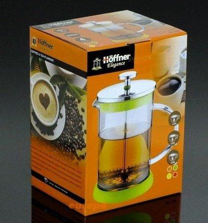 Szklany zaparzacz Hoffner HF 1128 do herbaty 600 ml ziół kawy dzbanek żółty