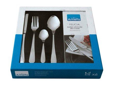 Sztućce Amefa Felicia 1241 zestaw 24 elem dla 6 osób w pudełku