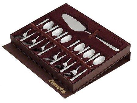 Sztućce deserowe Amefa Metropole 1170 do ciast 13szt w ozdobnym pudełku komplet