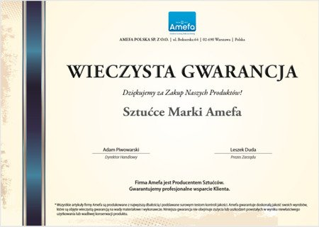 Sztućce obiadowe masywne Amefa Duke 5280 4 elem / 1 osoba stal 18/10