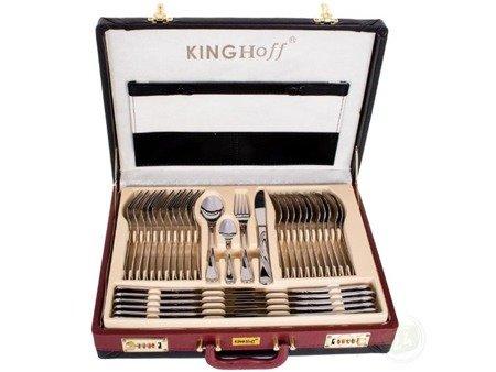 Sztućce w walizce KingHoff EH 3506 72 elementy 12 osób zestaw widelce+łyżki+walizka połysk