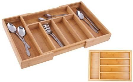 Wkład rozsuwany do szuflady 25/38x35x5 cm na sztućce Edenberg EB 8513 Bambusowy Organizer